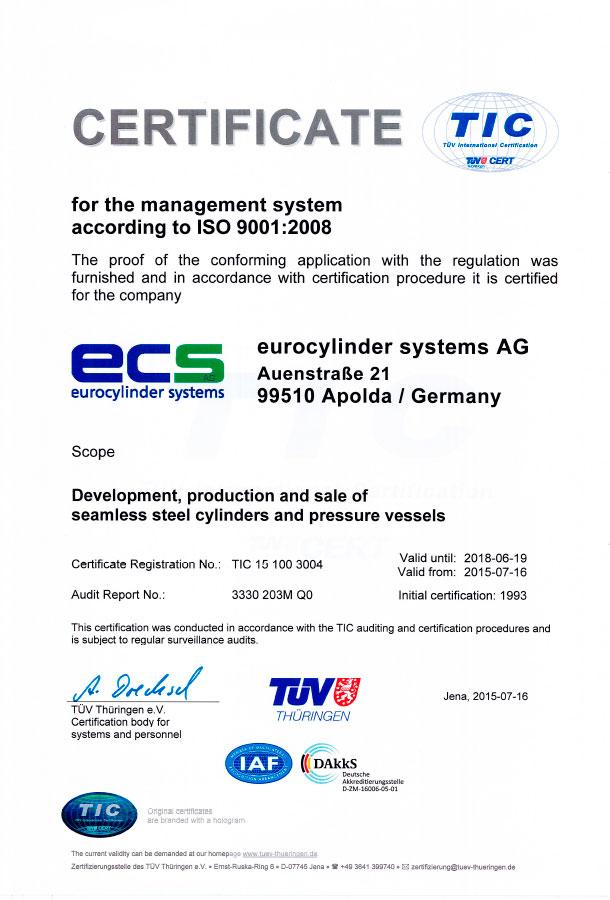 Certificado de calidad ISO 9001:2008