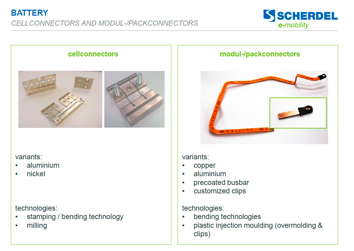 Battery: cell connectors and modul-/pack connectors E-Mobility-Scherdell