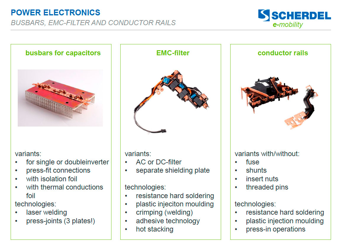 Power electronics: busbars emc-filter and conductor rails E-Mobility-Scherdell