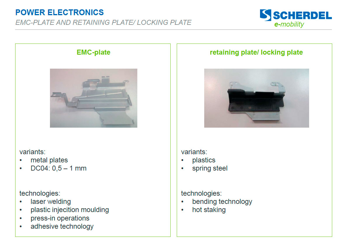 Power electronics: emc-plate and retaining plate locking plate E-Mobility-Scherdell