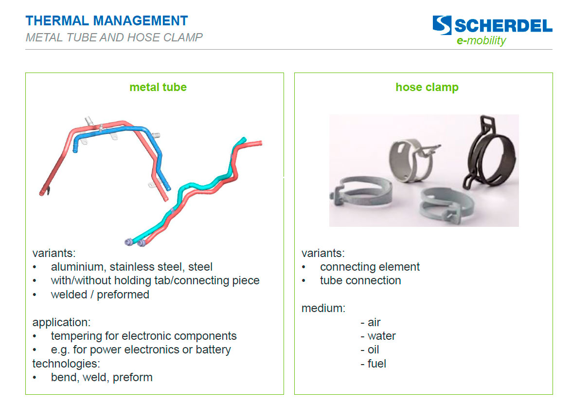 Thermal management: metal tube and hose clamp E-Mobility-Scherdell