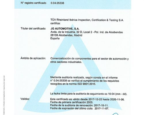 CERTIFICADO ISO 9001 JG AUTOMOTIVE