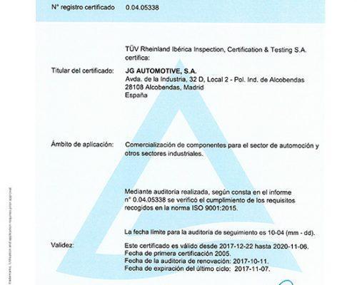 CERTIFICADO ISO 9001 JG AUTOMOTIVE