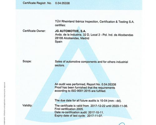 CERTIFICATE ISO 9001 JG AUTOMOTIVE
